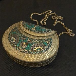 Handcrafted Brass & Inlaid Stone Purse from Israel